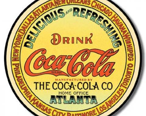 Tin Sign, COKE - Round Keg Label