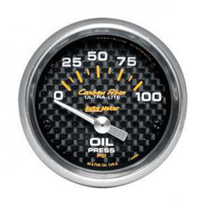 "El Camino Oil Pressure Gauge, Mechanical, 2-1/16"", Carbon Fiber Series, Autometer, 1959-1987"