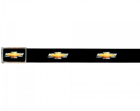 Web Belts, Up to 46'' Waist, Chevy Gold Bowtie Logo, Logo On Belt, Without Bottle Opener