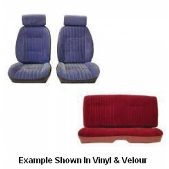 Malibu Front European Reclining Buckets With Headrest and Rear Bench Seat Set In Madrid Grain Vinyl, 1982