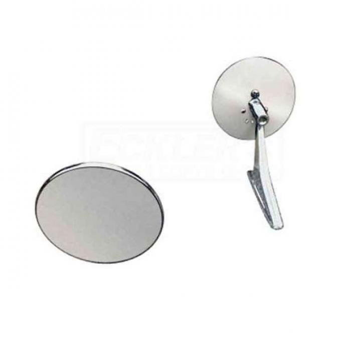 Chevelle Clear Shot Outside Door Mirrors, Chrome, 1964-1967