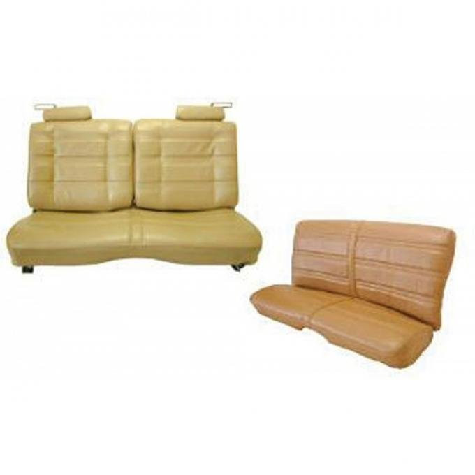 Malibu Seat Covers, Front Straight Bench With 50/50 Split Back, Head Rest, & Rear Bench Seat In Madrid Grain Vinyl, 2-Door Coupe, 1978-1980