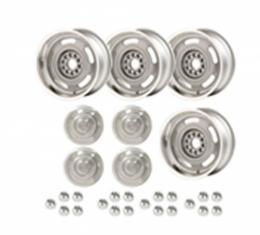 Rally Wheel Kit, 1-Piece Cast Aluminum With  Plain Flat (No Lettering)  Center Caps,  17x8