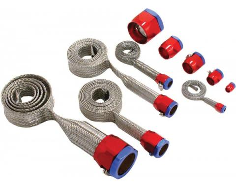 Chevelle Hose Cover Kit, Universal, Stainless Steel, With Red & Blue Clamps