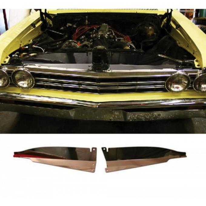 Chevelle Core Support Filler Panel, Polished Aluminum, 1967