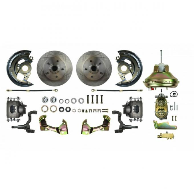 """Chevy II or Nova Front Power Disc Brake Conversion Kit With 11"""" Factory Syle Booster, 1968-1974"""