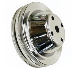 Chevelle Water Pump Pulley, Small Block, Double Groove, Chromed Billet Aluminum, For Cars With Long Water Pump, 1969-1972
