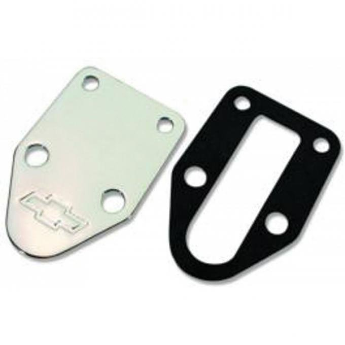 Chevelle Fuel Pump Mounting Hole Block-Off Plate, Small Block, Bowtie Logo, Chrome, With Gasket, 1964-1972
