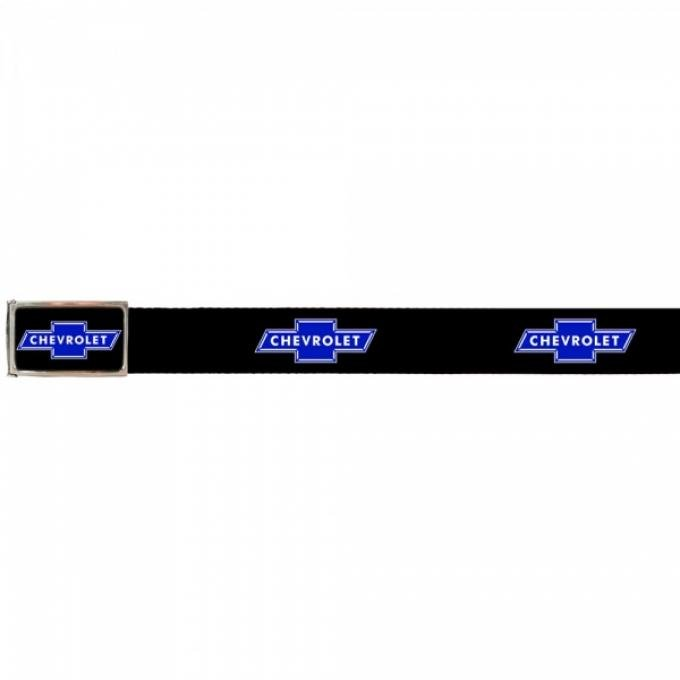 Web Belts, Up to 28'' Waist, Chevy Blue Bowtie Logo, Logo On Belt