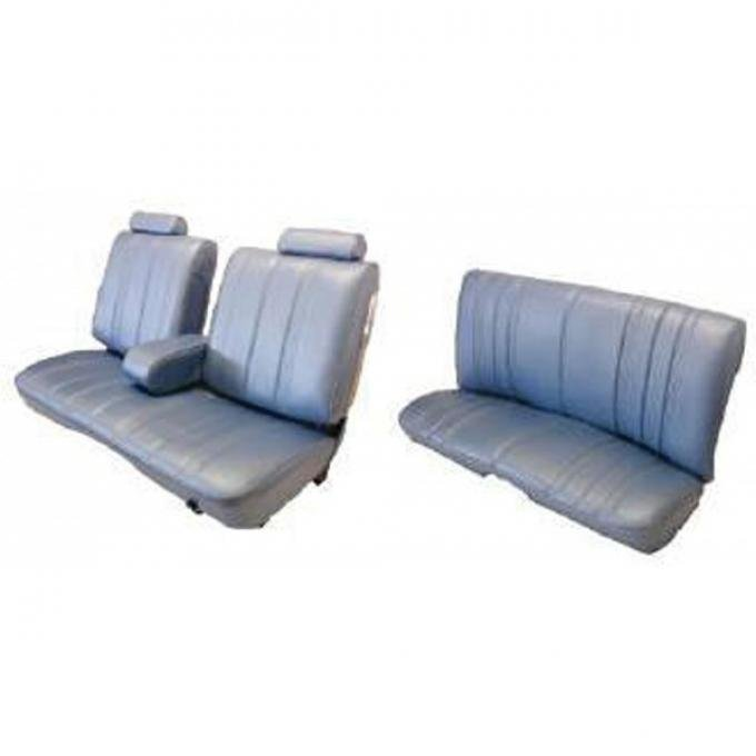 Malibu Seat Covers, Front Straight Bench With 50/50 Split Back, Head Rest, Center Arm rest & Rear Bench Seat In Madrid Grain Vinyl, Vertical Pleats, 2-Door Coupe, 1978-1981