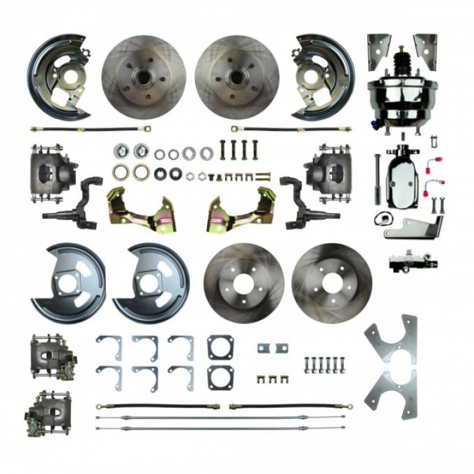 """Chevy II Or Nova 4-Wheel Power Disc Brake Conversion Kit With 8"""" Chrome Booster, Staggered Rear Shocks, 1968-1974"""