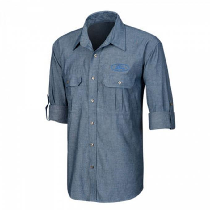 Ford Rolled-Sleeve Chambray Polo