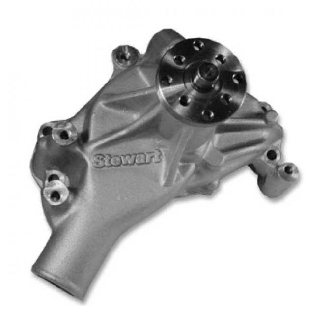 Chevelle Water Pump, SB Polished Aluminum, Hi-Flo, Long, Stewart, 1969-1972