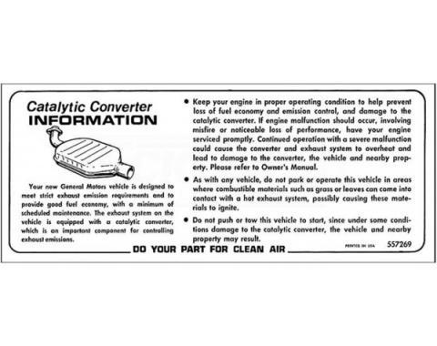 El Camino Catalytic Converter Installation Decal, 1975-1978