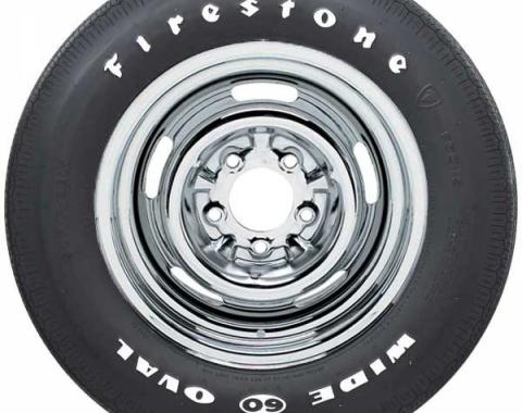 Chevelle Tire, Firestone Wide Oval, F70X14, White Letters, All Years