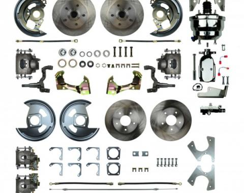 """Camaro 4-Wheel Power Disc Brake Conversion Kit With 8"""" Chrome Booster, Non-Staggered Rear Shocks, 1967-1969"""