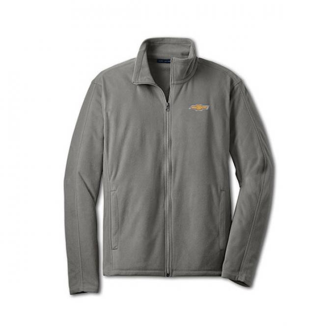 Chevy Jacket, Men's, Full Zip Lightweight Microfleece , Grey