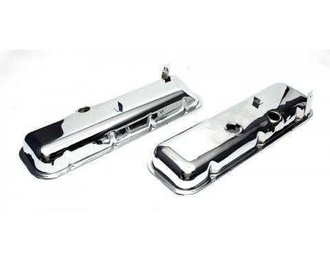 Chevelle Valve Covers, Big Block, Chrome, With Drip Rail, For Cars With Power Brake Booster, 1965-1972