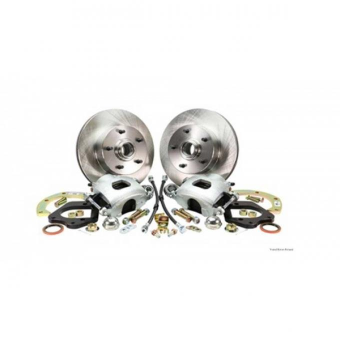 Front Disc Brake Conversion, Stock Spindle, Basic,Drilled/Slotted, 67-69