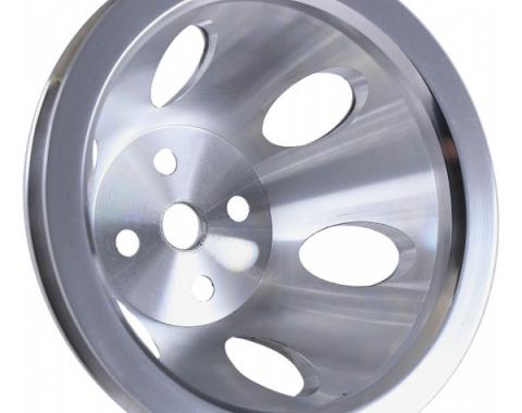 Chevelle Water Pump Pulley, Big Block, Single Groove, Polished Billet Aluminum, For Cars With Short Water Pump, 1964-1968