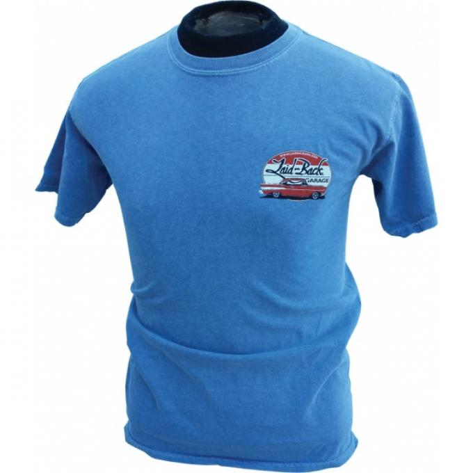 Laid Back Epic Chevy Garage T-Shirt, Blue