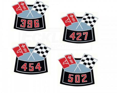 Chevelle Air Cleaner Emblem, Crossed Flag With Cubic Inch Displacement, Diecast, 1964-1983