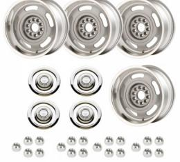Late Great Chevy - Rally Wheel Kit, 1-Piece Cast Aluminum With  Flat Disc Brake Style Center Caps, Staggered 17x8 And 17x9