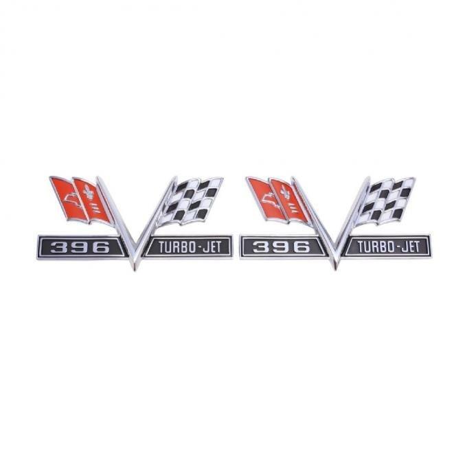 Trim Parts 65-67 Full-Size Chevrolet,El Camino,Chevelle, and Camaro Front Fender Emblem, X-Flag / 396 Turbo-Jet, Pair 4220