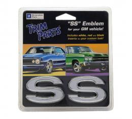 """Trim Parts Universal """"SS"""" Emblem with Three Colors of Inserts, Adhesive Backing, Pair Z4620A"""