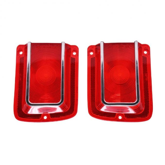 Trim Parts 65 Chevelle Red Tail Light Lens with Chrome Trim, Pair A4205