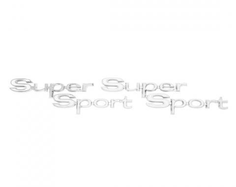 Trim Parts 67 Chevelle Rear Quarter Emblem, Super Sport, Pair 4352