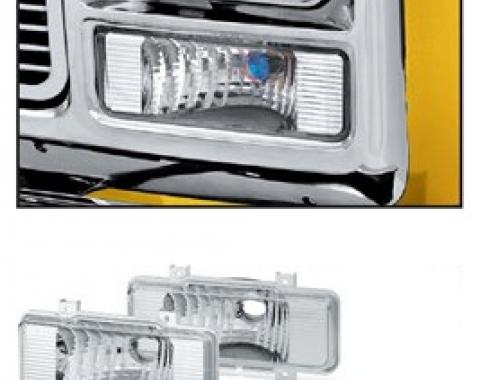 Chevy Truck Custom Park Light Set, Single Round Headlight, 1973-1980