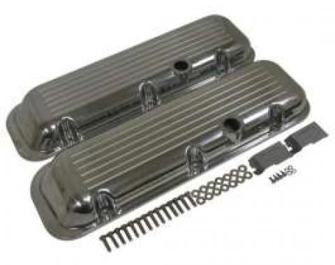 Chevy Big Block Valve Covers, OE Style Ball Milled Polished Aluminum, 1965-1995