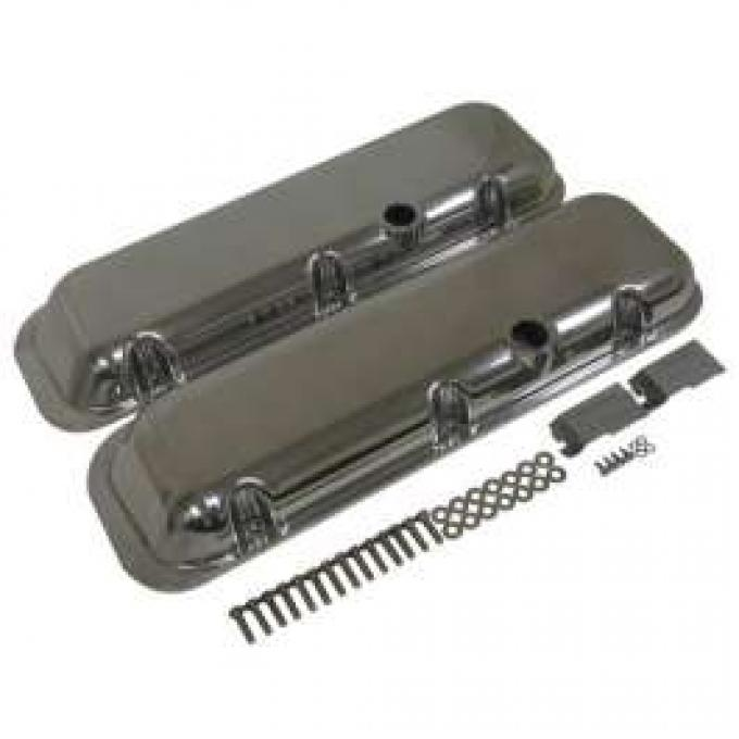 Chevy Big Block Valve Covers, OE Style Polished Aluminum, 1965-1995