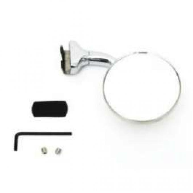 Chevy Outside Rear View Mirror, 3 Peep With Curved Arm, 1949-1954
