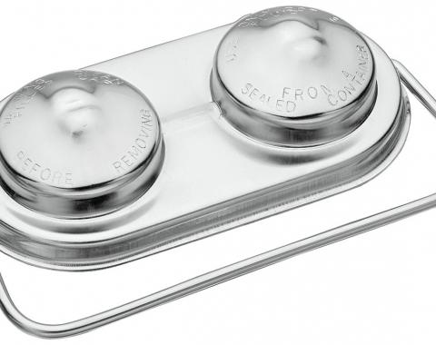 "Redline Restomotive Brake Master Cylinder Cover, Power Or Manual, 5"" x 2-3/8"", Chrome"