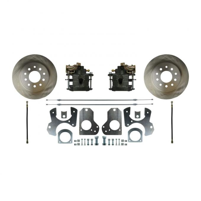 Right Stuff Rear Disc Brake Conversion Kit with Standard Rotors, Natural Finish Calipers, Hoses, E-Brake Cables & more for 78-81 GM A-body, 82-92 F-Body and 78-88 G-body. AFXRD78