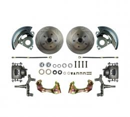 """Right Stuff 2"""" Drop Front Wheel Kit with Spindles, Standard Rotors, Natural Finish Calipers, Hoses, Backing Plates & Caliper Brackets for 64-72 GM A-Body. AFXWK01D"""