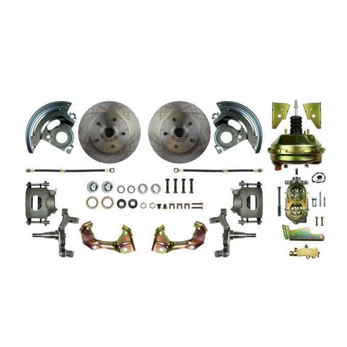 """Right Stuff Power Front 2"""" Drop Disc Brake Conversion Kit with 9"""" Brake Booster & Master Cylinder, Standard Rotors and Natural Finish Calipers for 64-72 GM A-body. AFXDC01D"""