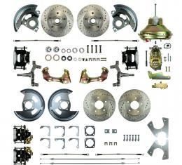 """Right Stuff 4 Wheel 2"""" Drop Power Disc Brake Conversion with an 11"""" Booster, Master Cylinder & Valve, Spindles, Drilled & Slotted Rotors, Black Powder Coated Calipers, Stainless Hoses and more for 67-72 GM A-Body with Non-Staggered Rear Shocks. AFXDC46DS"""
