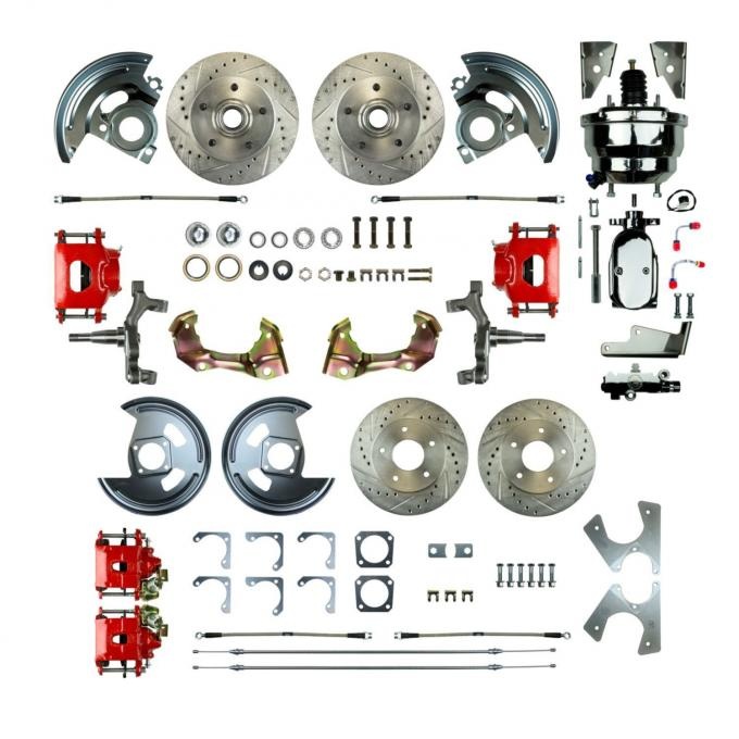 "Right Stuff 4 Wheel 2"" Drop Power Disc Brake Conversion with a Chrome 8"" Dual Booster, Master Cylinder & Valve, Spindles, Drilled & Slotted Rotors, Red Powder Coated Calipers, Stainless Hoses and more for 67-72 GM A-Body with Non-Staggered Rear Shocks. AFXDC46DZX"