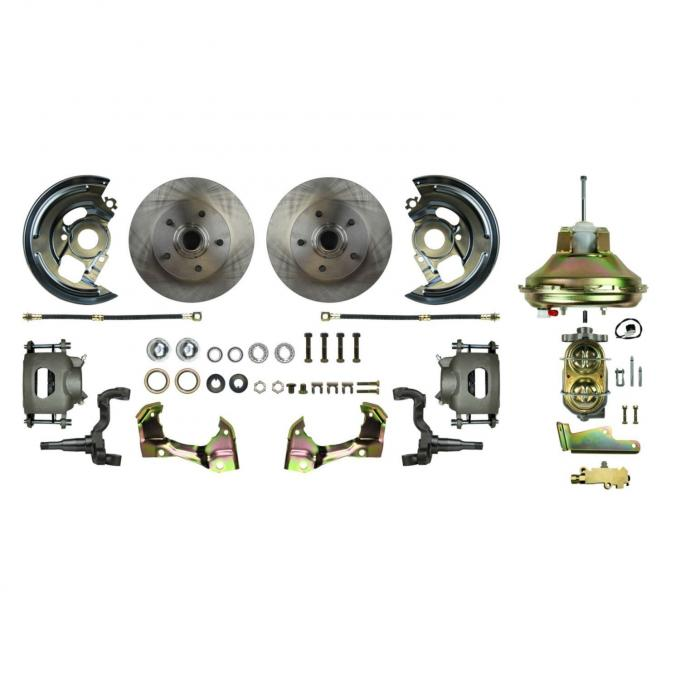 """Right Stuff Power Front Stock Height Disc Brake Conversion Kit with an 11"""" Brake Booster & Master Cylinder, Standard Rotors and Natural Finish Calipers for 67-72 GM A-Body. AFXDC06C"""