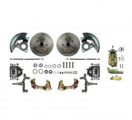 Right Stuff Manual Front Disc Brake Conversion Kit with Standard Rotors and Natural Finish Calipers for 64-72 GM A-body. AFXSD01C