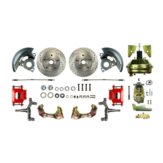 "Right Stuff Power Front 2"" Drop Disc Brake Conversion Kit with 9"" Brake Booster & Master Cylinder, Drilled and Slotted rotors, Red Powder Coated Calipers and Stainless Hoses for 64-72 GM A-body. AFXDC01DZ"