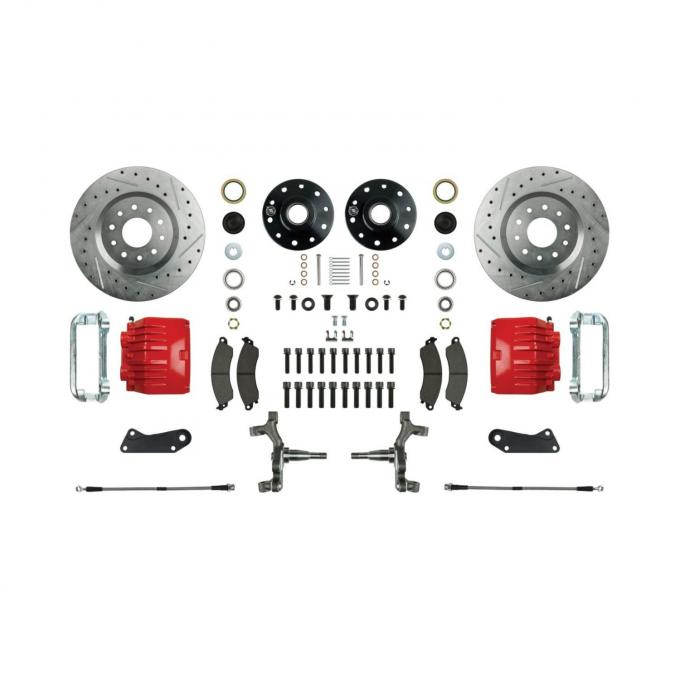 "Right Stuff 2"" Drop Front Wheel Kit with Spindles, Drilled & Slotted Rotors, Red Twin Piston Calipers and Stainless Hoses for 64-72 GM A-Body, 67-69 F-Body and 68-74 Nova. AFXWK31DZ"