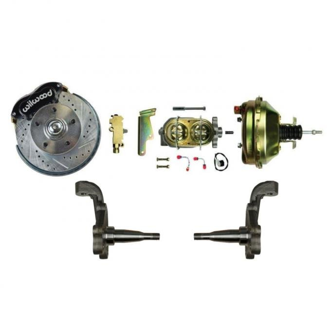 """Right Stuff Power Front Stock Height Disc Brake Conversion Kit with 9"""" Black Wilwood Dual Piston Calipers, standard finish 9"""" Brake Booster & Master Cylinder, Drilled & Slotted Rotors, Stainless Hoses & more for 64-72 GM A-Body, 67-69 F-Body and 68-74 Nova AFXDC32S"""
