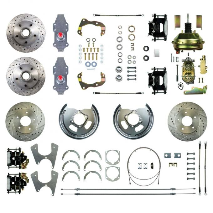 "Right Stuff 4 Wheel 2"" Drop Power Disc Brake Conversion with an 11"" Booster, Master Cylinder & Valve, Spindles, Standard Rotors, Natural Finish Calipers, Hoses and more for 67-72 GM A-Body with Non-Staggered Rear Shocks. AFXDC46D"