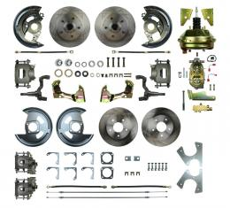 "Right Stuff 4 Wheel Stock Height Power Disc Brake Conversion with a 9"" Booster, Master Cylinder & Valve, Spindles, Standard Rotors, Natural Finish Calipers, Hoses and more for 64-72 GM A-Body with Non-Staggered Rear Shocks. AFXDC41C"