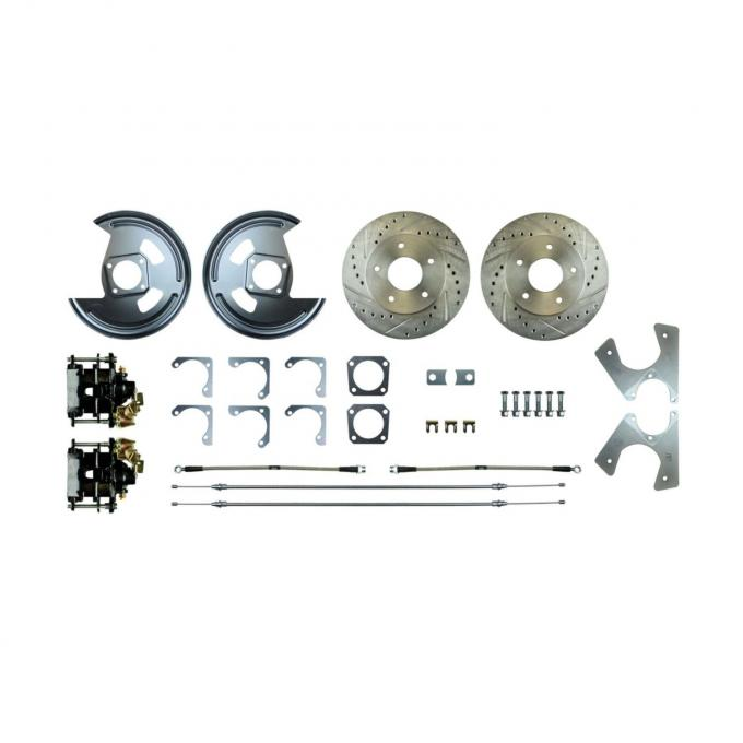 Right Stuff EZ Fit Rear Disc Brake Conversion Kit with Drilled & Slotted Rotors and Black Powder Coated Calipers for 64-77 GM A-Body and 67 F-Body with Non-Staggered Rear Shocks. AFXRD14A