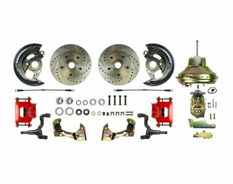 """Right Stuff Power Front Stock Height Disc Brake Conversion Kit with an 11"""" Brake Booster & Master Cylinder, Drilled and Slotted Rotors, Red Powder Coated Calipers and Stainless Hoses for 67-72 GM A-Body. AFXDC06CZ"""